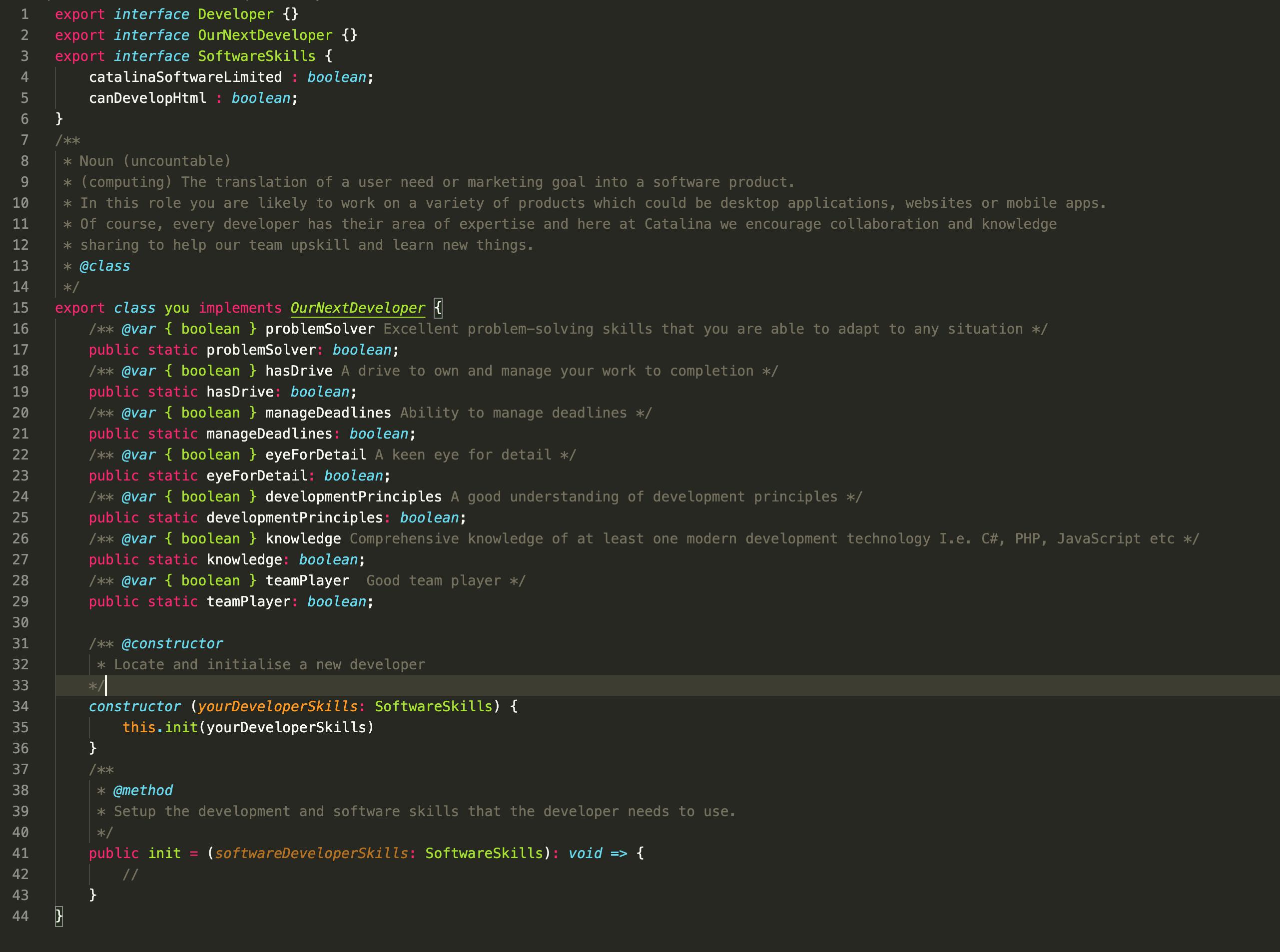 Job ad in code
